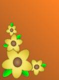 L'espace orange de copie du vecteur Eps10 avec les fleurs jaunes Image libre de droits