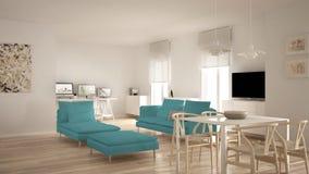 L'espace ouvert contemporain scandinave de salon avec la table de salle à manger, le sofa et la chaise longue, bureau, lieu de tr photo libre de droits