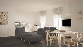 L'espace ouvert contemporain scandinave de salon avec la table de salle à manger, le sofa et la chaise longue, bureau, lieu de tr images libres de droits