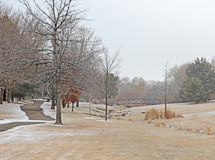 L'espace ouvert de parc avec la traînée de chemin et pont dans la distance brumeuse Photographie stock