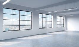 L'espace ouvert de style de grenier peut être les bureaux utilisés ou les résidentiels rendu 3d Images libres de droits