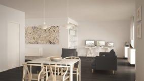 L'espace ouvert minimaliste nordique de salon avec la table de salle à manger, sofa, bureau faisant le coin, lieu de travail à la images stock
