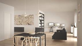 L'espace ouvert minimaliste nordique de salon avec la table de salle à manger, sofa, bureau faisant le coin, lieu de travail à la photos libres de droits