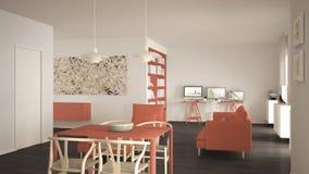 L'espace ouvert minimaliste nordique de salon avec la table de salle à manger, sofa, bureau faisant le coin, lieu de travail à la photo stock