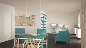L'espace ouvert minimaliste nordique de salon avec la table de salle à manger, sofa, bureau faisant le coin, lieu de travail à la photographie stock libre de droits