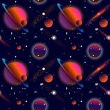L'espace ouvert réaliste La manière laiteuse, les étoiles et les planètes Fond étranger de planète Géant de gaz avec des planètes illustration de vecteur