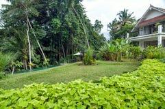 L'espace piscine extérieur de la villa de luxe de Bali Images stock