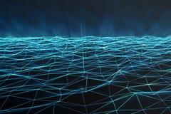 L'espace polygonal abstrait bas poly avec les points et les lignes se reliants Fond futuriste Structure de connexion 3d illustration de vecteur