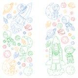 L'espace pour des enfants Page de coloration, livre Enfants et exploration de cosmos Aventures, planètes, étoiles La terre et lun illustration stock