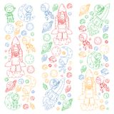 L'espace pour des enfants Page de coloration, livre Enfants et exploration de cosmos Aventures, planètes, étoiles La terre et lun illustration libre de droits