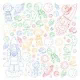 L'espace pour des enfants Page de coloration, livre Enfants et exploration de cosmos Aventures, planètes, étoiles La terre et lun illustration de vecteur