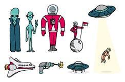 L'espace réglé/étrangers et astronautes Illustration Libre de Droits
