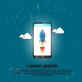 L'espace Rocket moderne d'application d'Innovetion de téléphone intelligent de cellules Image libre de droits