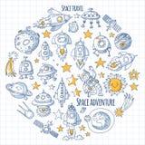 L'espace, satellite, lune, étoiles, vaisseau spatial, icônes et modèles tirés par la main de griffonnage de l'espace de station s illustration libre de droits