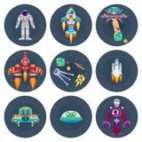 L'espace tient le premier rôle les étrangers de vaisseaux spatiaux et les satellites plats d'astronautes illustration stock