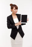 L'espace vide d'exposition de femme d'affaires du PC de garniture Photographie stock