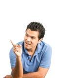 L'espace vide masculin hispanique V d'annonce d'indication par les doigts Images stock