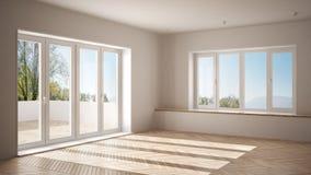 L'espace vide moderne avec de grandes fenêtres panoramiques et plancher en bois, intérieur blanc minimaliste d'architecture illustration stock