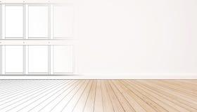 L'espace vital intérieur, avec la construction de double exposition raye Plancher en bois avec le mur blanc Photographie stock libre de droits