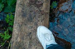 l'espadrille femelle blanche sur ses pieds dehors se tient sur la planche en bois sur la pierre dans l'eau Espadrilles plan rappr Photo stock