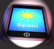 L'Espagne au téléphone montre les vacances et le Sunny Weather Photo libre de droits