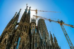 l'Espagne, Barcelone Panorama de la ville Temple Sagrada en construction de Familia photo stock