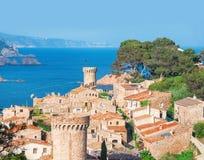 l'espagne Catalunya Tossa de mars Vue aérienne et panoramique des FO Image stock