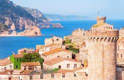 l'espagne Catalunya Tossa de mars Vue aérienne et panoramique des FO Image libre de droits