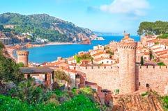 l'espagne Catalunya Tossa de mars Vue aérienne et panoramique des FO Photo stock