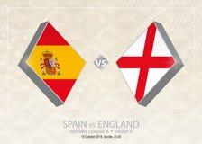 L'Espagne contre l'Angleterre, ligue A, groupe 4 Concurrence du football de l'Europe illustration libre de droits
