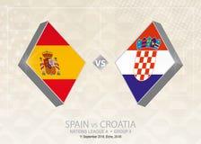 L'Espagne contre la Croatie, ligue A, groupe 4 Concurrence du football de l'Europe illustration libre de droits