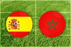 L'Espagne contre le match de football du Maroc Photos stock