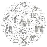 L'Espagne a décrit l'ensemble d'icône illustration de vecteur