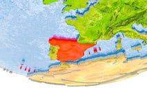 L'Espagne en rouge sur le modèle de la terre Image libre de droits
