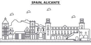 L'Espagne, ligne illustration d'architecture d'Alicante d'horizon Paysage urbain linéaire de vecteur avec les points de repère cé Image stock