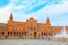 L'Espagne Square Plaza de Espana est une plaza dans Maria Luisa Par Photo libre de droits