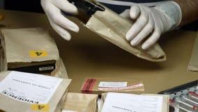 L'esperto nella polizia esamina il disco rigido alla ricerca di prova archivi video