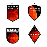 L'esplorazione di colonziation di Marte badges, etichette, i segni, gli emblemi, elementi di progettazione illustrazione vettoriale