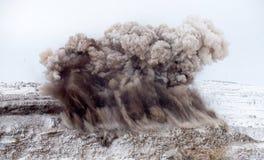 L'esplosivo lavora alla trincea a cielo aperto fotografia stock libera da diritti