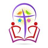 L'espoir de croix de bible de christianisme croient le logo de symbole de paix illustration stock