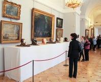 L'esposizione delle pitture e della testa dei gufi Fotografie Stock