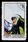 L'essai de pression, 10 ans a servi d'équipier le serie de vol spatial, vers 1971 Images libres de droits