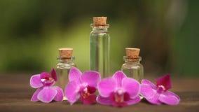 L'essenza dell'orchidea fiorisce sulla tavola in barattolo di vetro video d archivio