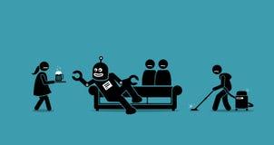 L'essere umano è diventato il servo per il robot royalty illustrazione gratis