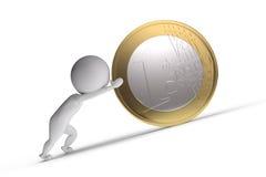 l'essere umano 3d spinge una grande moneta Immagine Stock Libera da Diritti