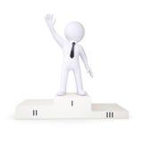 l'essere umano bianco 3d è in primo luogo podio illustrazione di stock