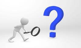 l'essere umano 3D individua ed ottiene le informazioni da un punto interrogativo Fotografia Stock