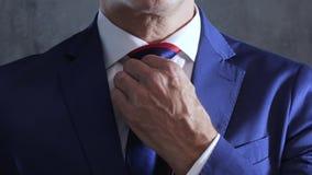 L'essere umano di affari in smoking raddrizza il legame sulla gola su fondo del muro di cemento grigio stock footage