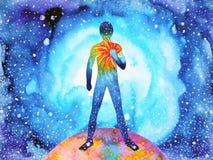 L'essere umano e l'energia potente di spirito si collegano al potere dell'universo illustrazione vettoriale