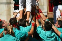L'essere umano si eleva Castellers fotografie stock libere da diritti